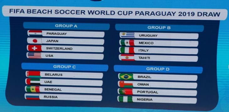 FIFA Beach Soccer World Cup Paraguay: Italy placed in Group B with Uruguay, Mexico and Tahiti