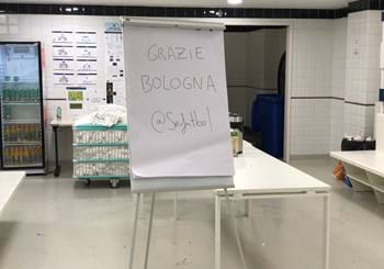 "Fair play from Spain, they lost but wrote ""Grazie Bologna"" in the dressing room"
